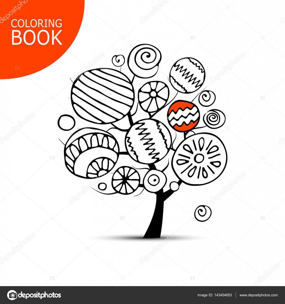 Árbol abstracto con círculos. Bosquejo para su libro para colorear ...