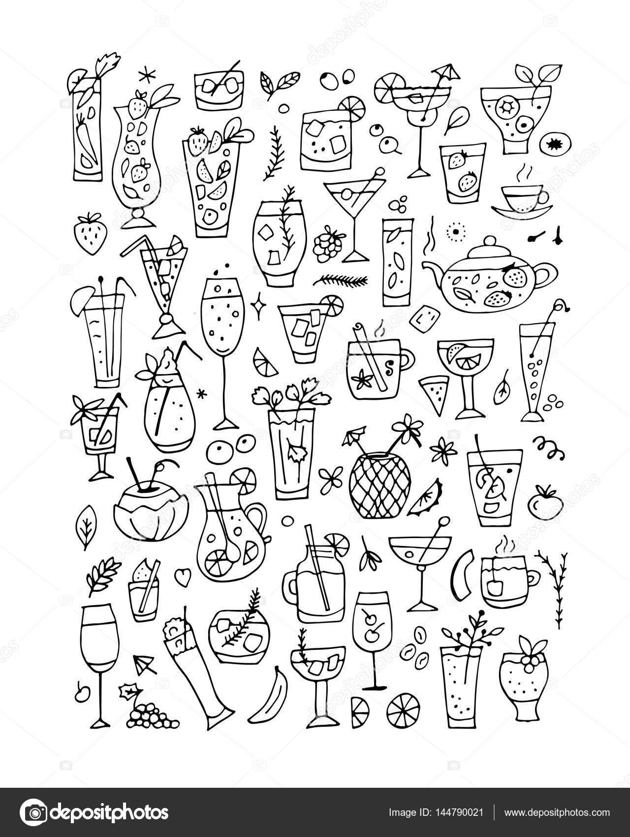 Colección de bebidas, diseño de página de libro para colorear ...