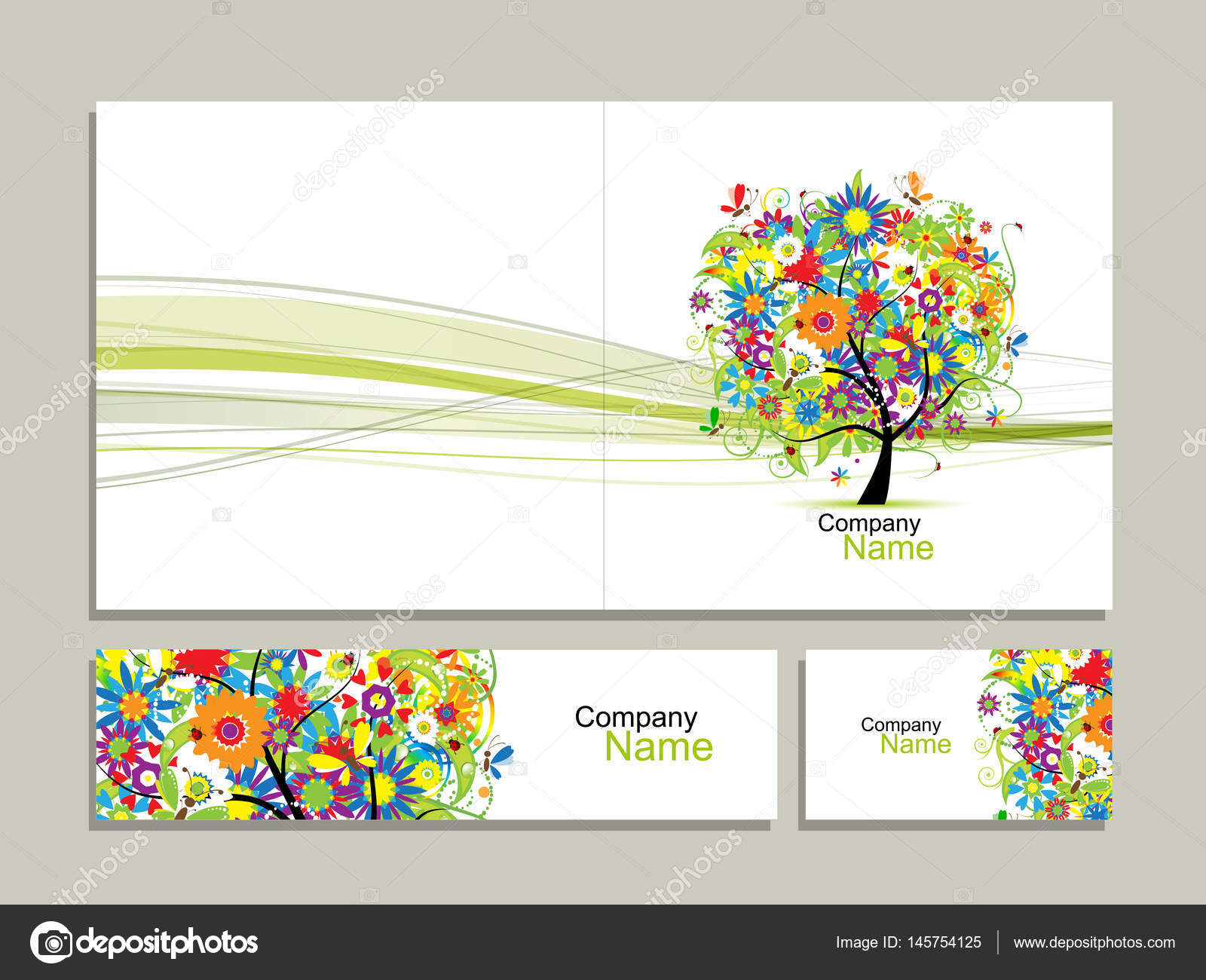 Collection De Carte Visite Abstrait Arbre Floral Design Image Vectorielle