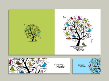 Greeting card design, tree with singing birds