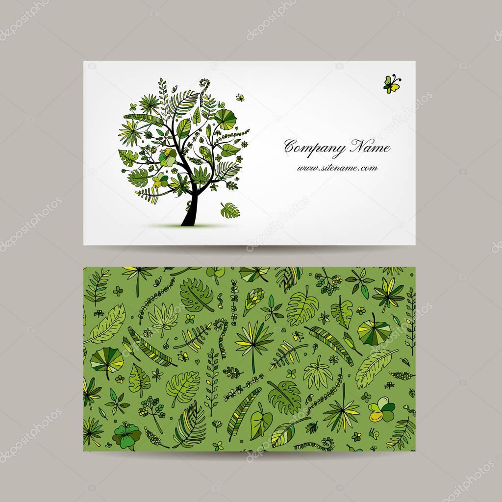 Business card design, tropical tree