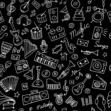 Music instruments sketch, seamless pattern for your design
