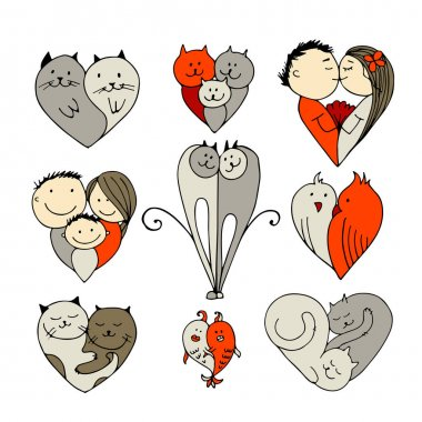 Couples, set of sketches for your design
