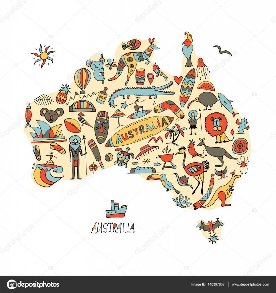 Australian map with icons set, sketch for your design — Stock Vector ...