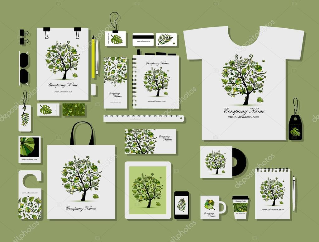 Corporate flat mock-up template, tropical tree design