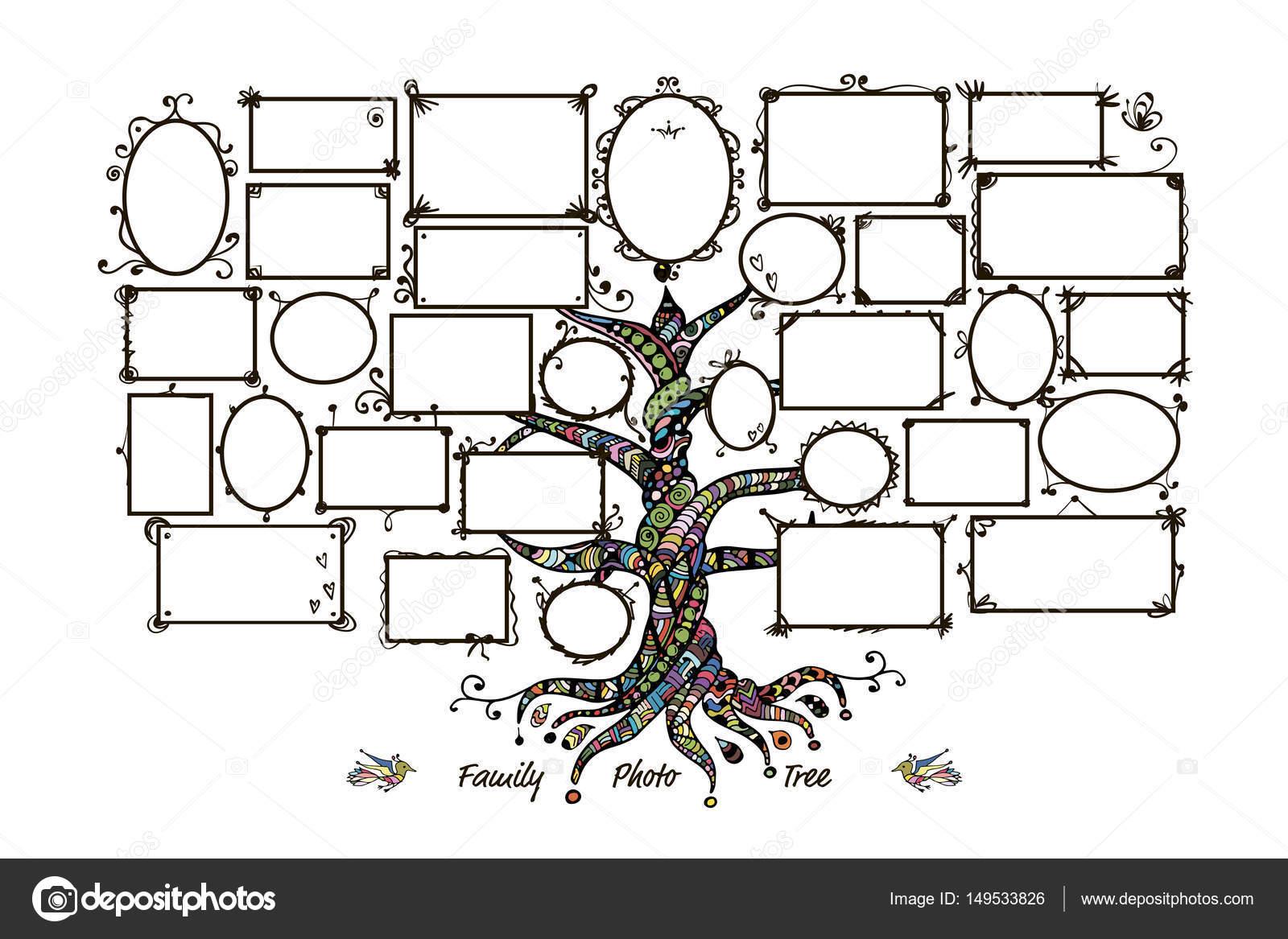 Stammbaum Vorlage mit Bilderrahmen — Stockvektor © Kudryashka #149533826