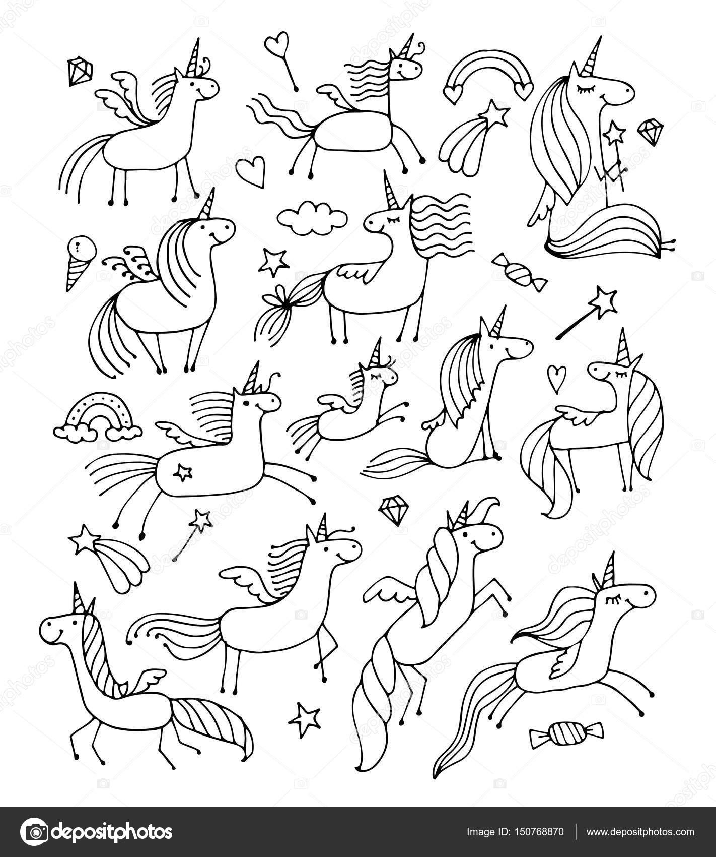 Progettazione Di Unicorni Magici Per Libro Da Colorare Vettoriali