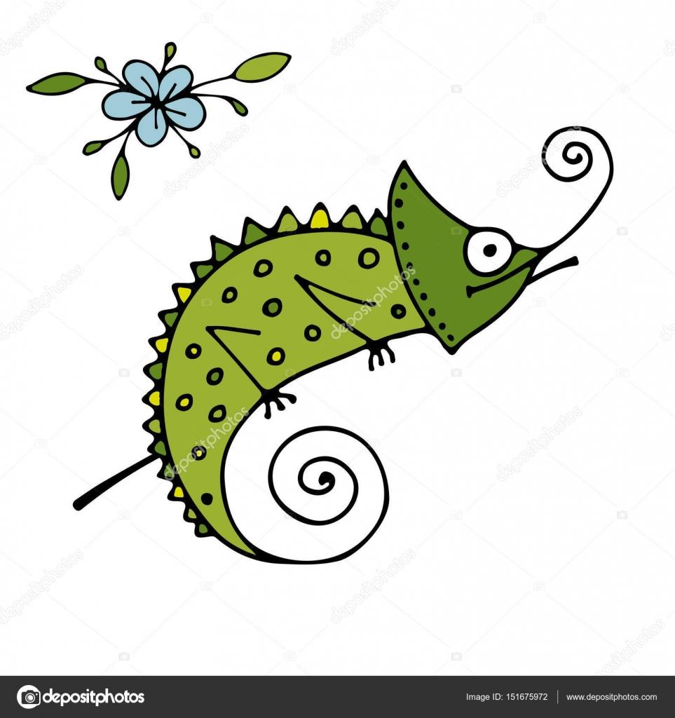 desenho de camaleão esboço para seu projeto vetores de stock