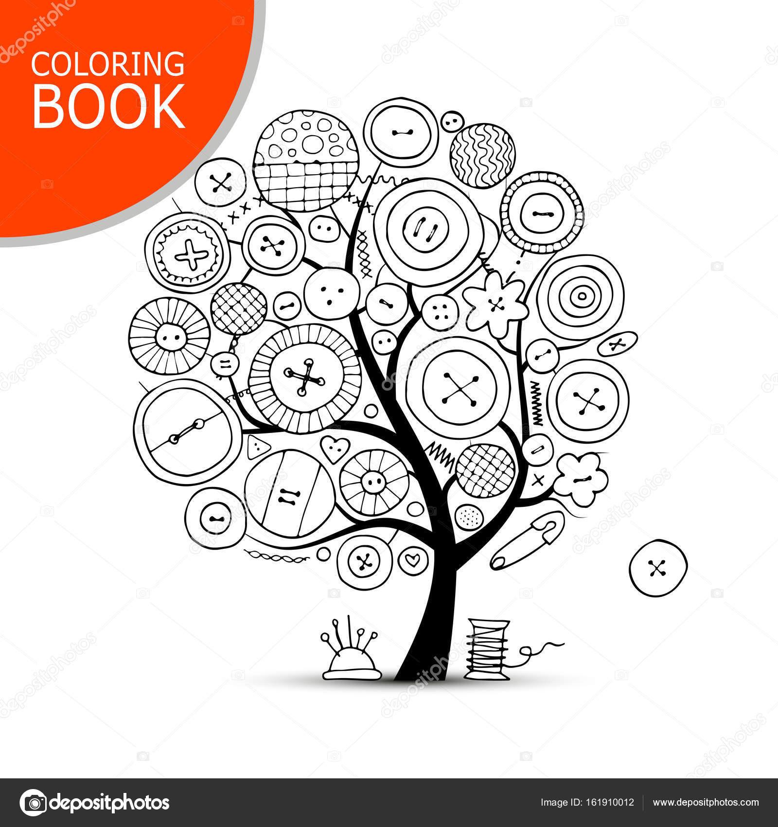 Artes de coser, árbol de arte. Página de su libro para colorear ...
