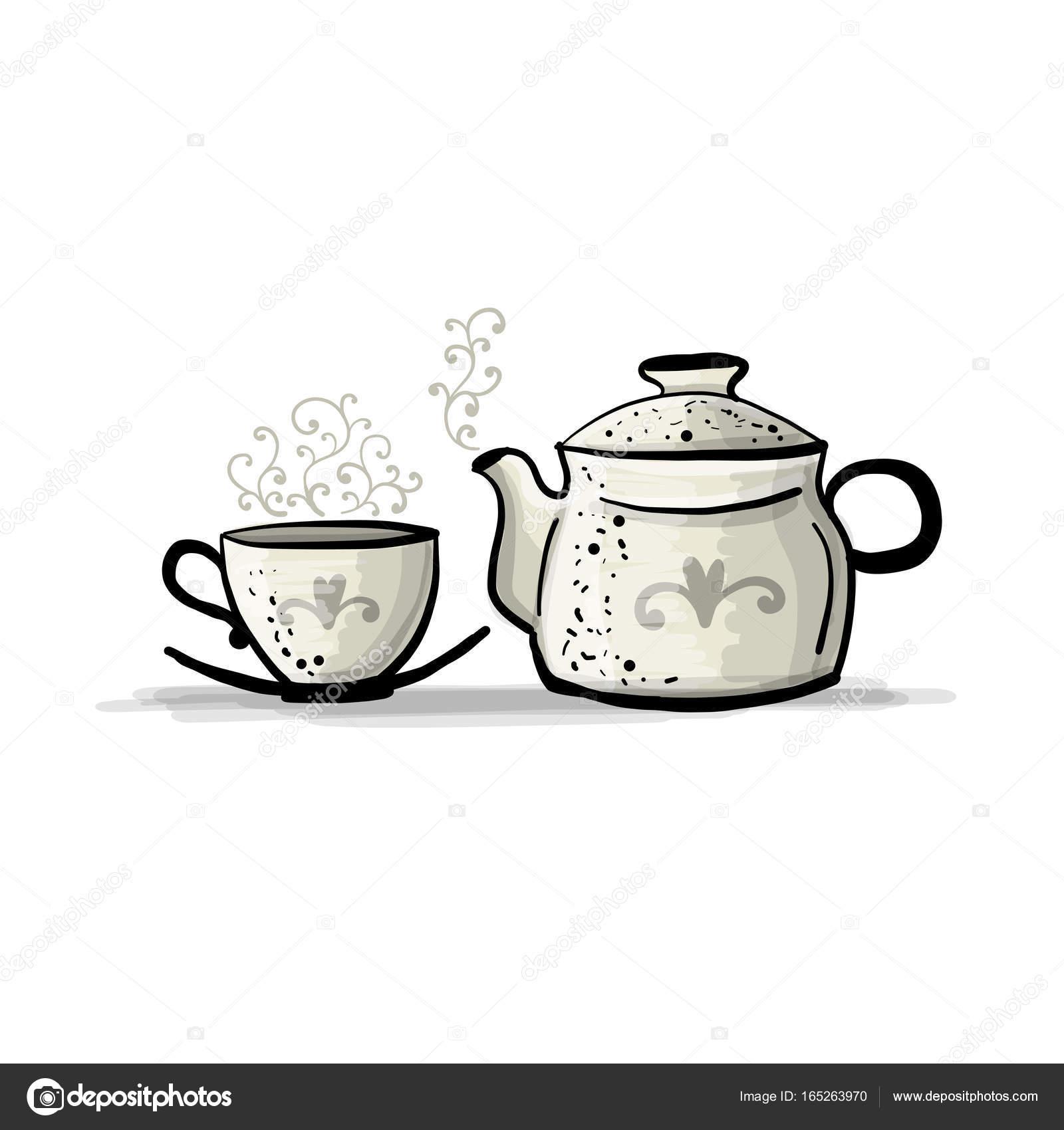 keramik teekanne mit tasse skizze für ihr design
