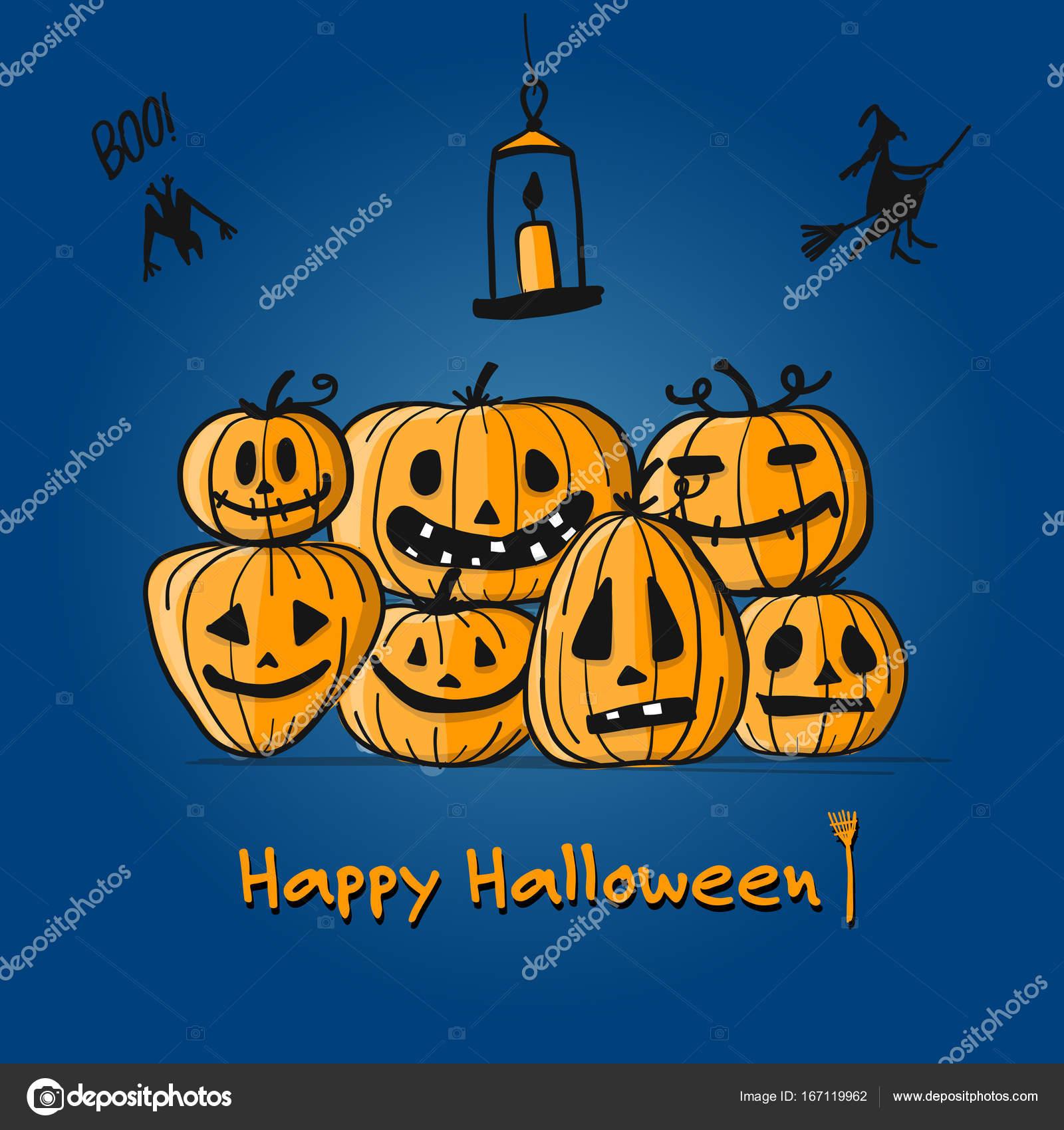 happy halloween card pumpkins sketch for your design u2014 stock