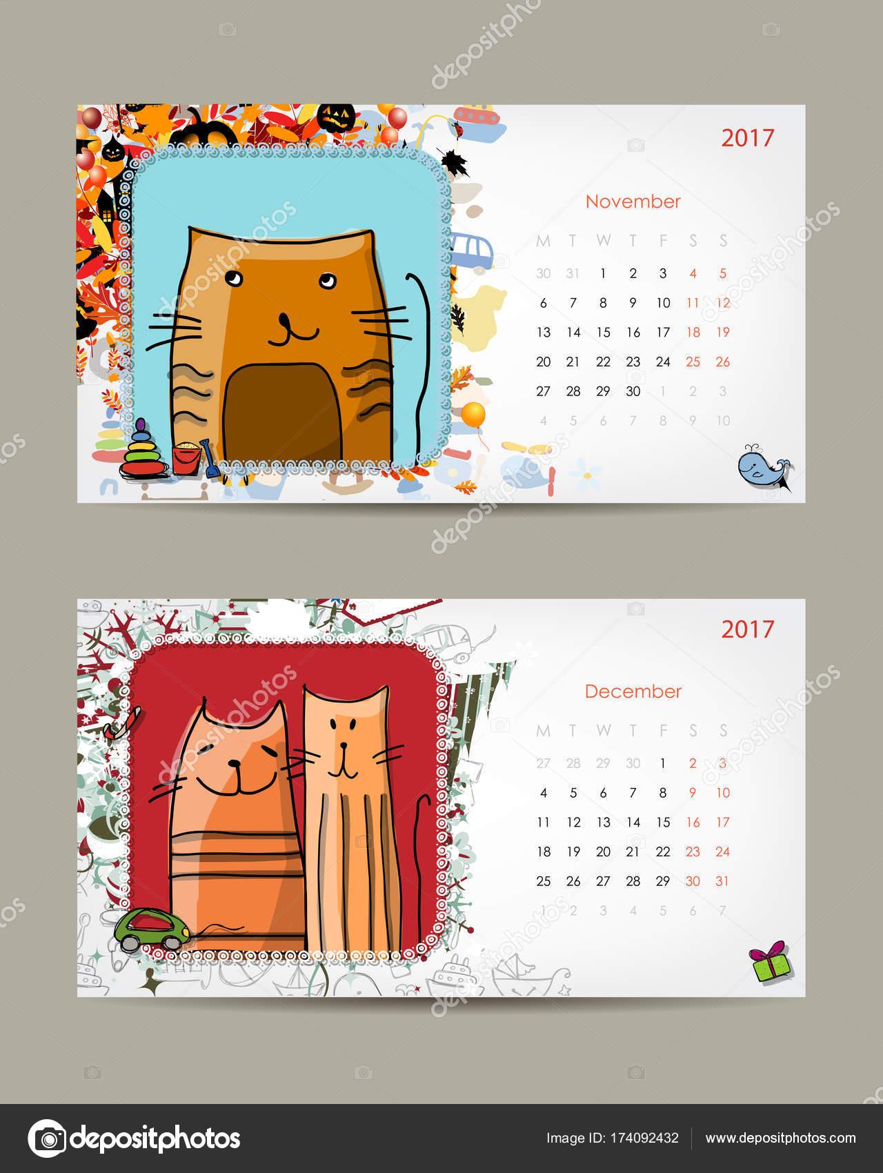 2017 Baby Calendar Template Insert Your Photo Stock Vector