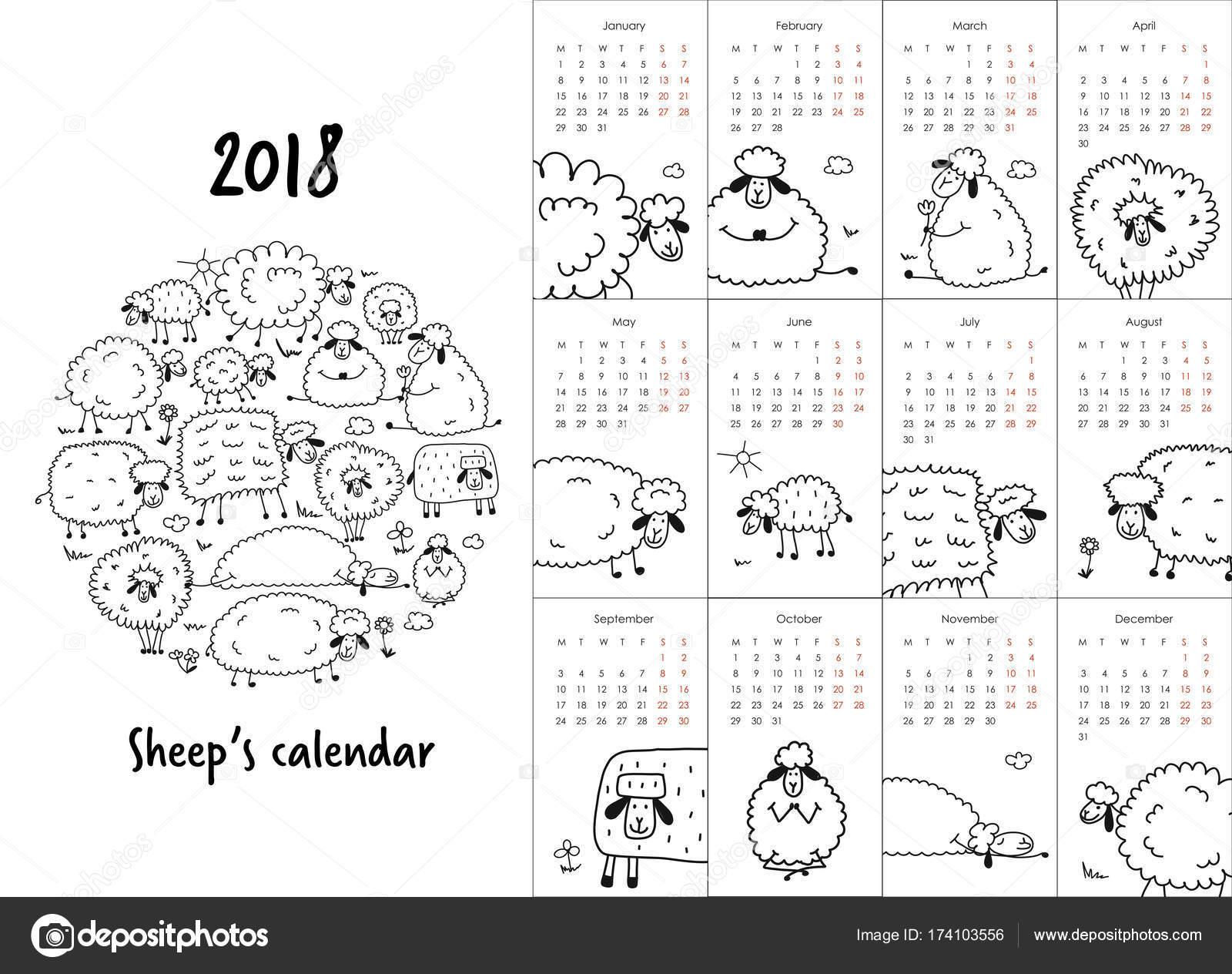 Animado Calendario 2018 Divertido Para Imprimir Diseño De