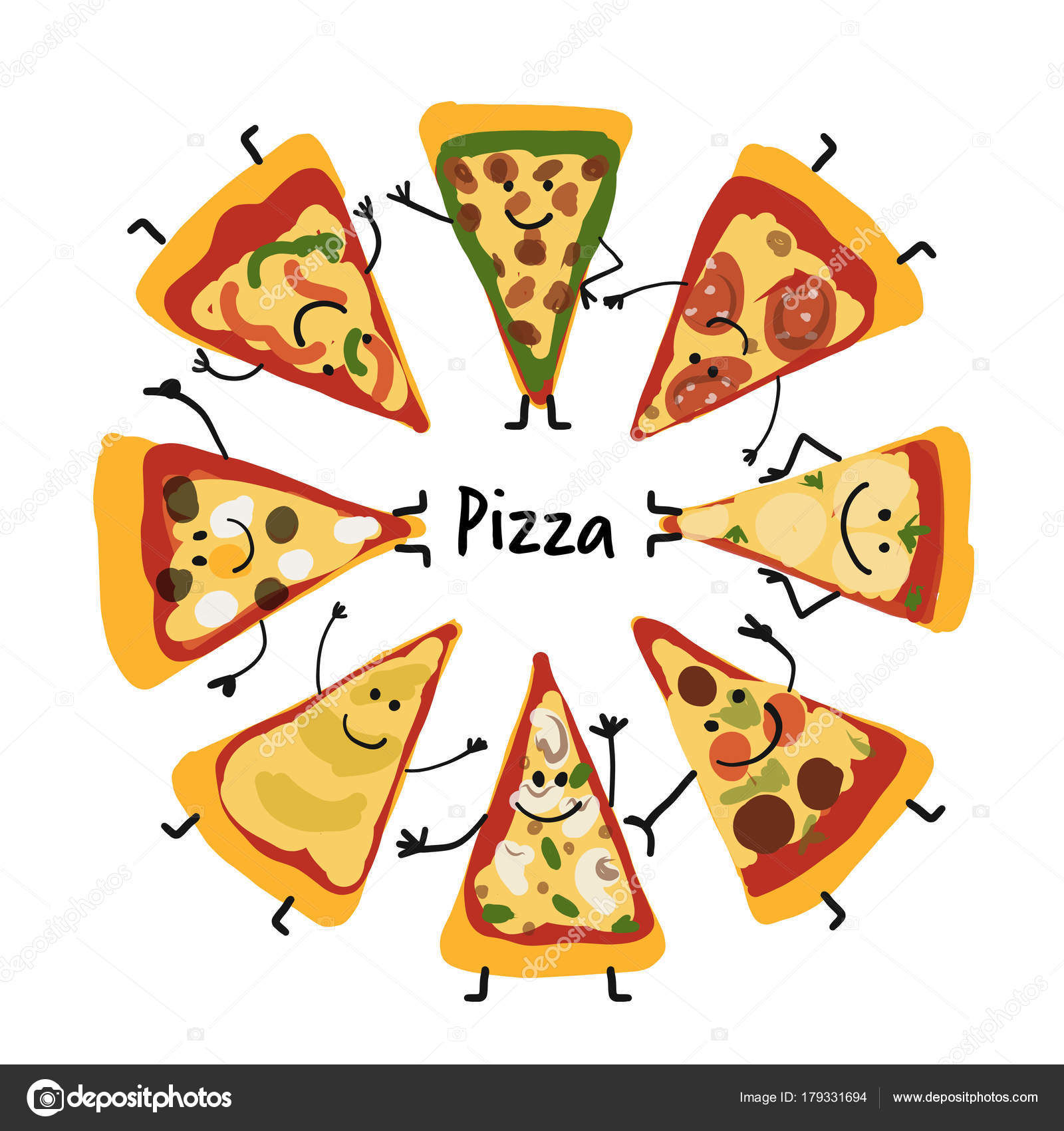 Pizza slices character set, sketch for your design — Stock Vector