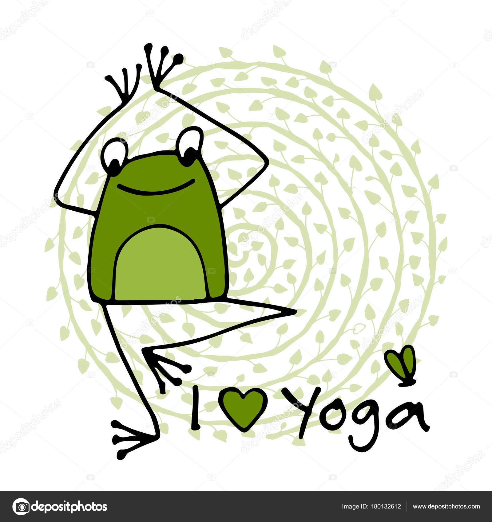 Lustige Yoga Frosch Skizze Fur Ihr Design Stockvektor