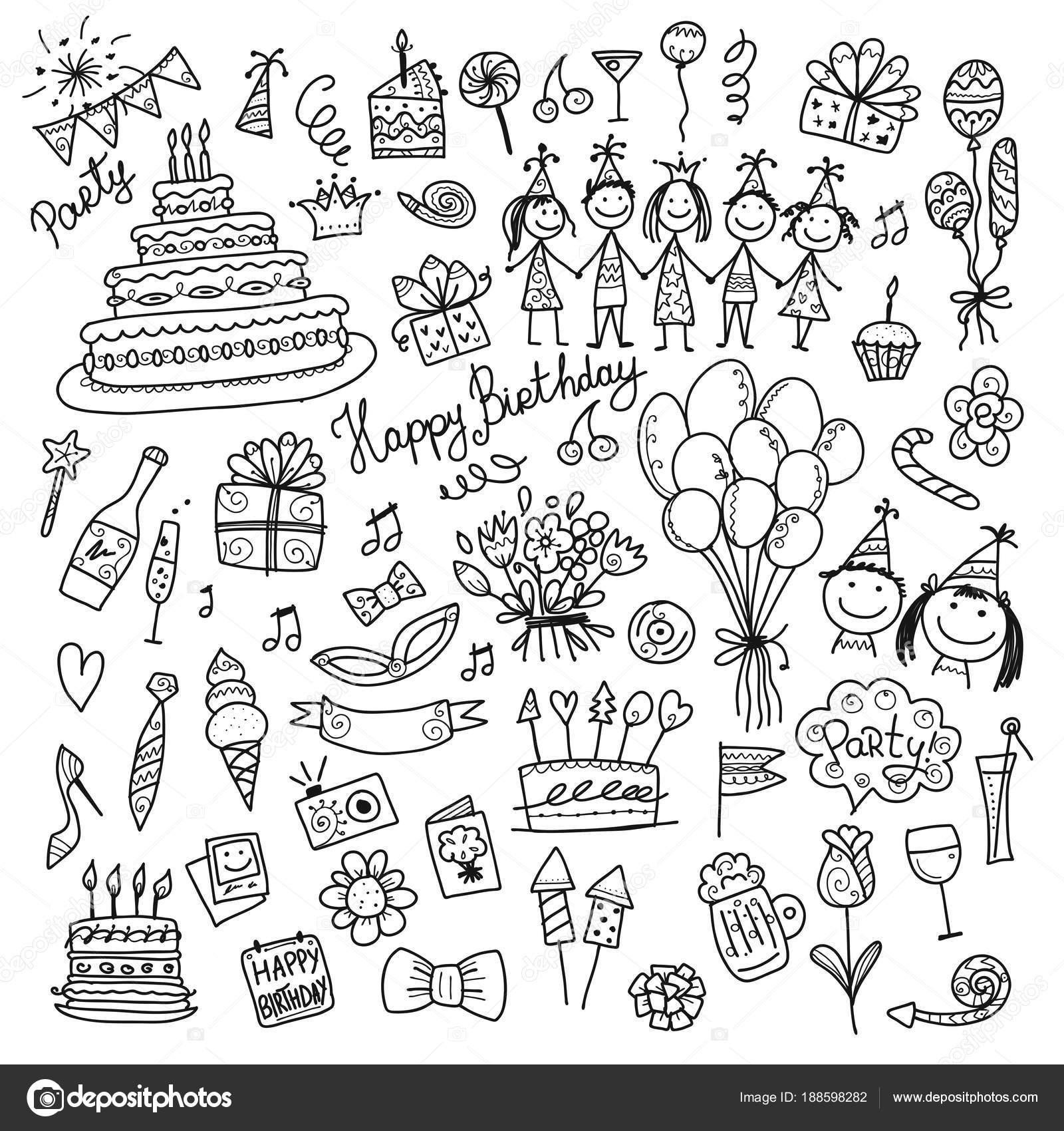 Fiesta de cumpleaños, para colorear iconos para su diseño — Vector ...
