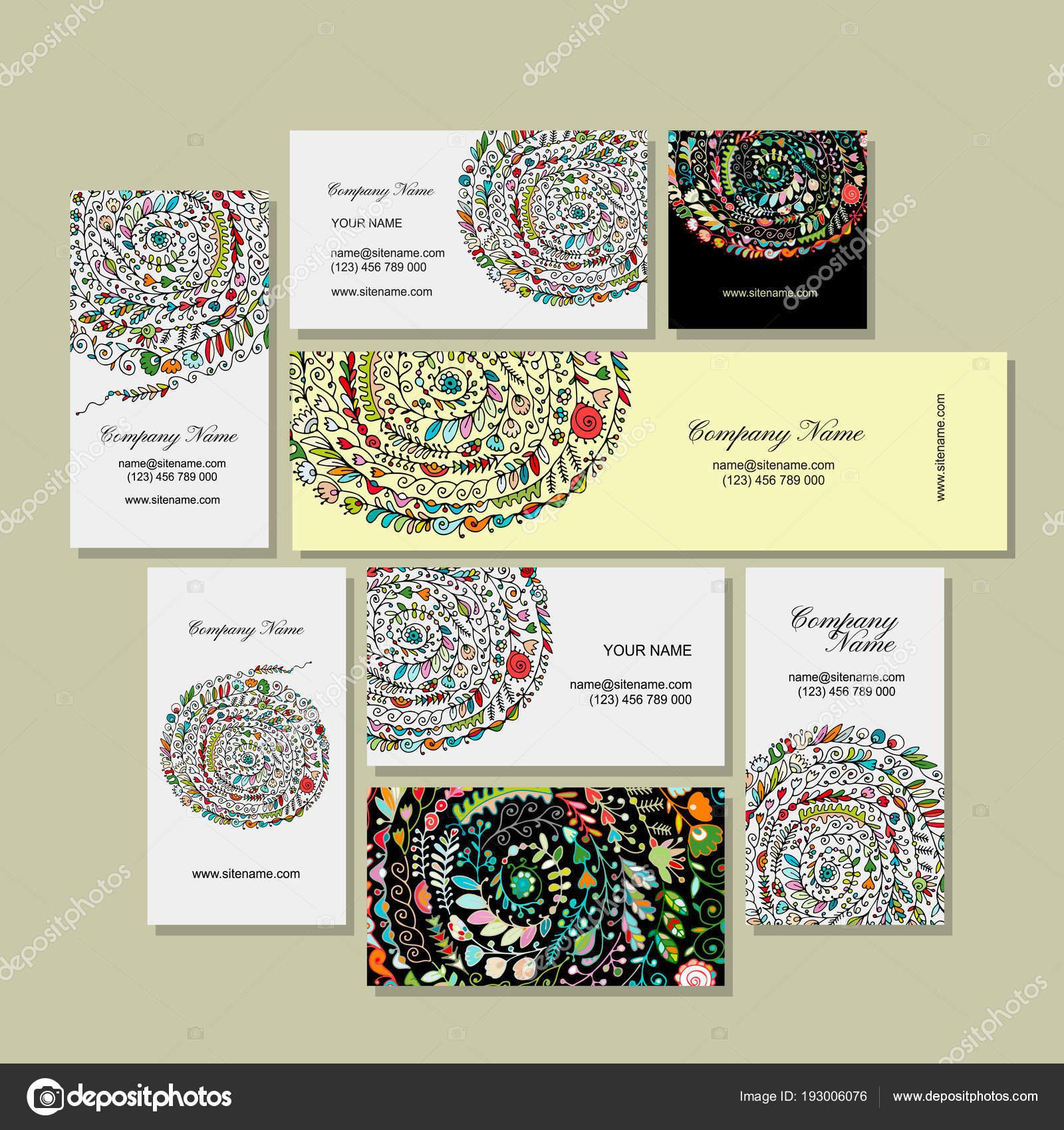 Visitenkarten Design Floraler Hintergrund Stockvektor