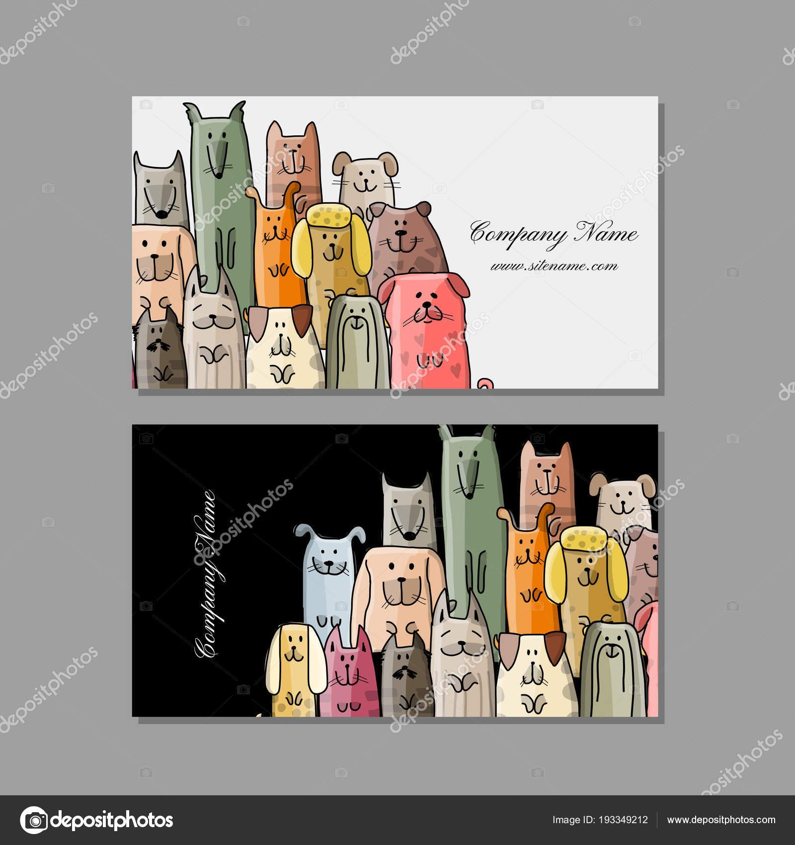 Visitenkarten Design Lustige Hunde Familie Stockvektor
