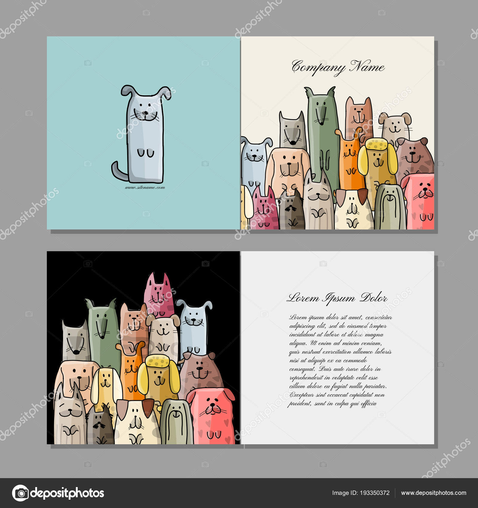 Cartes De Visite Conception Famille Chiens Drles Illustration Vectorielle Vecteur Par Kudryashka