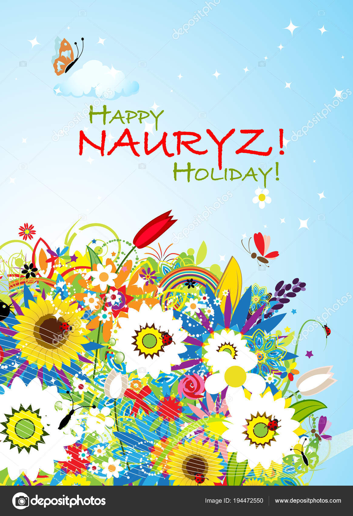 Nowruz Holiday Greeting Card For Your Design Stock Vector