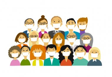People wearing face masks, air pollution, contaminated air, world pollution. Group of business people wearing medical masks to prevent disease, flu, gas mask. Vector illustration stock vector