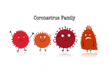 Coronavirus family, covid-19. Cute character isolated on white. Vector illustration stock vector