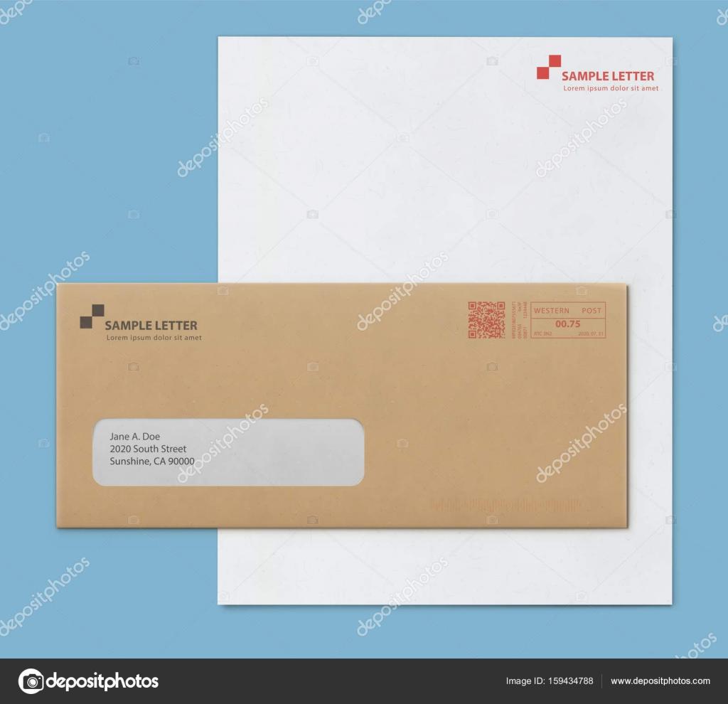 Mock Up Post Umschlag Und Brief Papier Vorlage Stockvektor