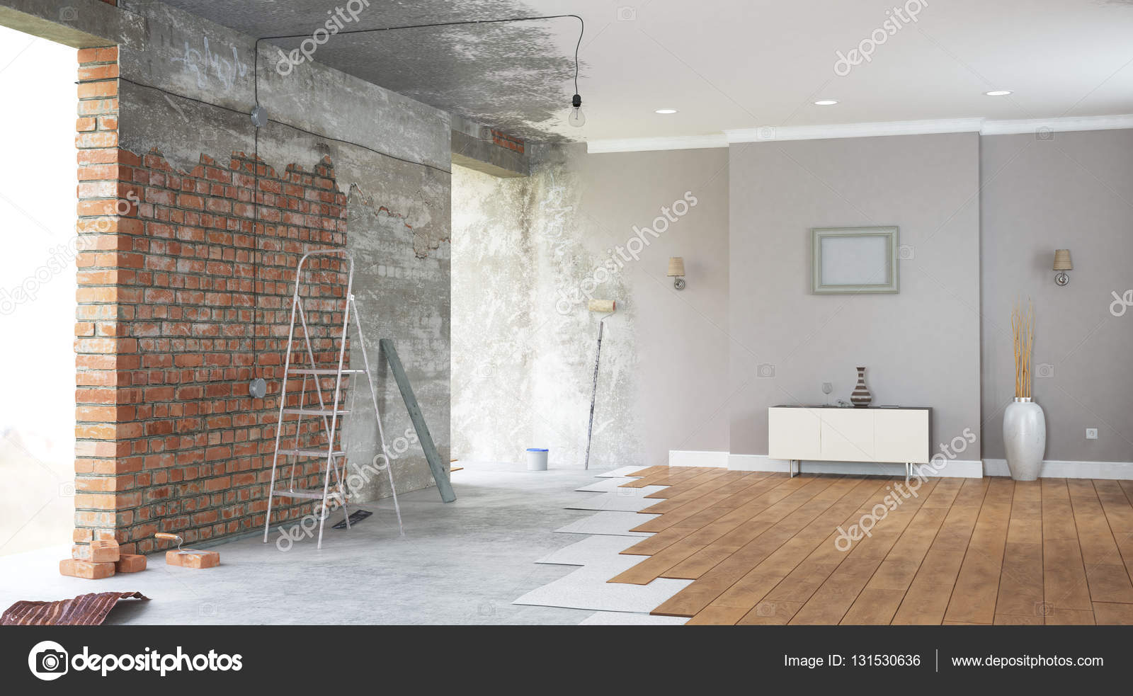 Renovatie interieur. 3D render — Stockfoto © SergeyNivens #131530636