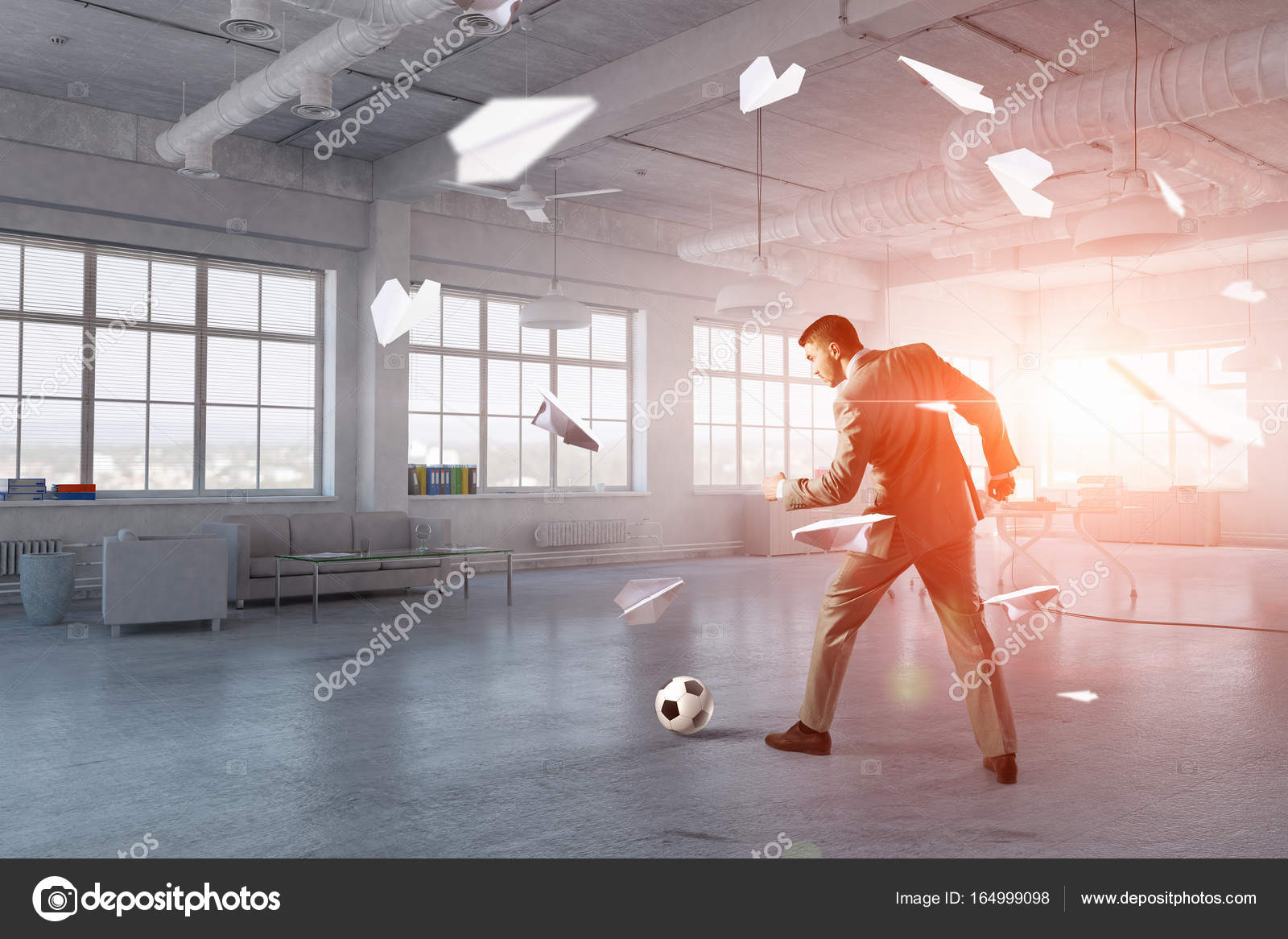 playing office soccer stock photo