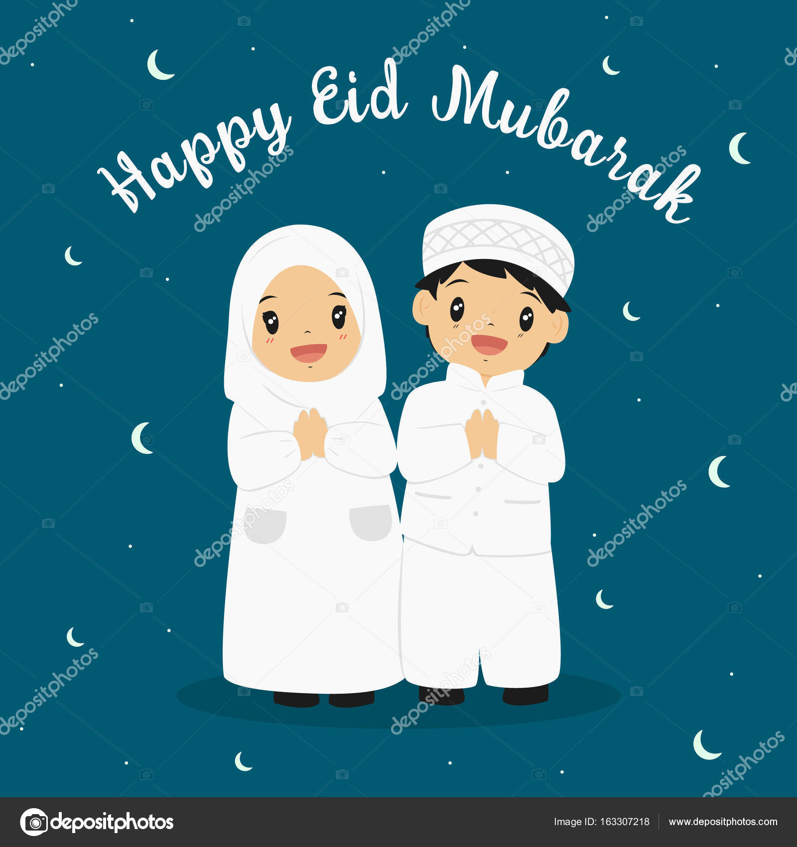 Happy Eid Greeting Card Stock Vector Fisurarolandocketmail