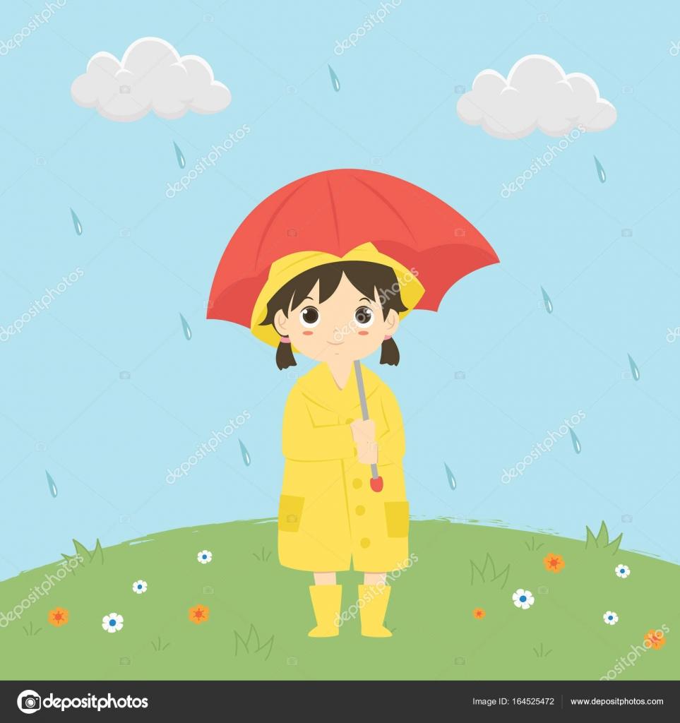 Petite Fille Sous La Pluie Vector Illustration Image