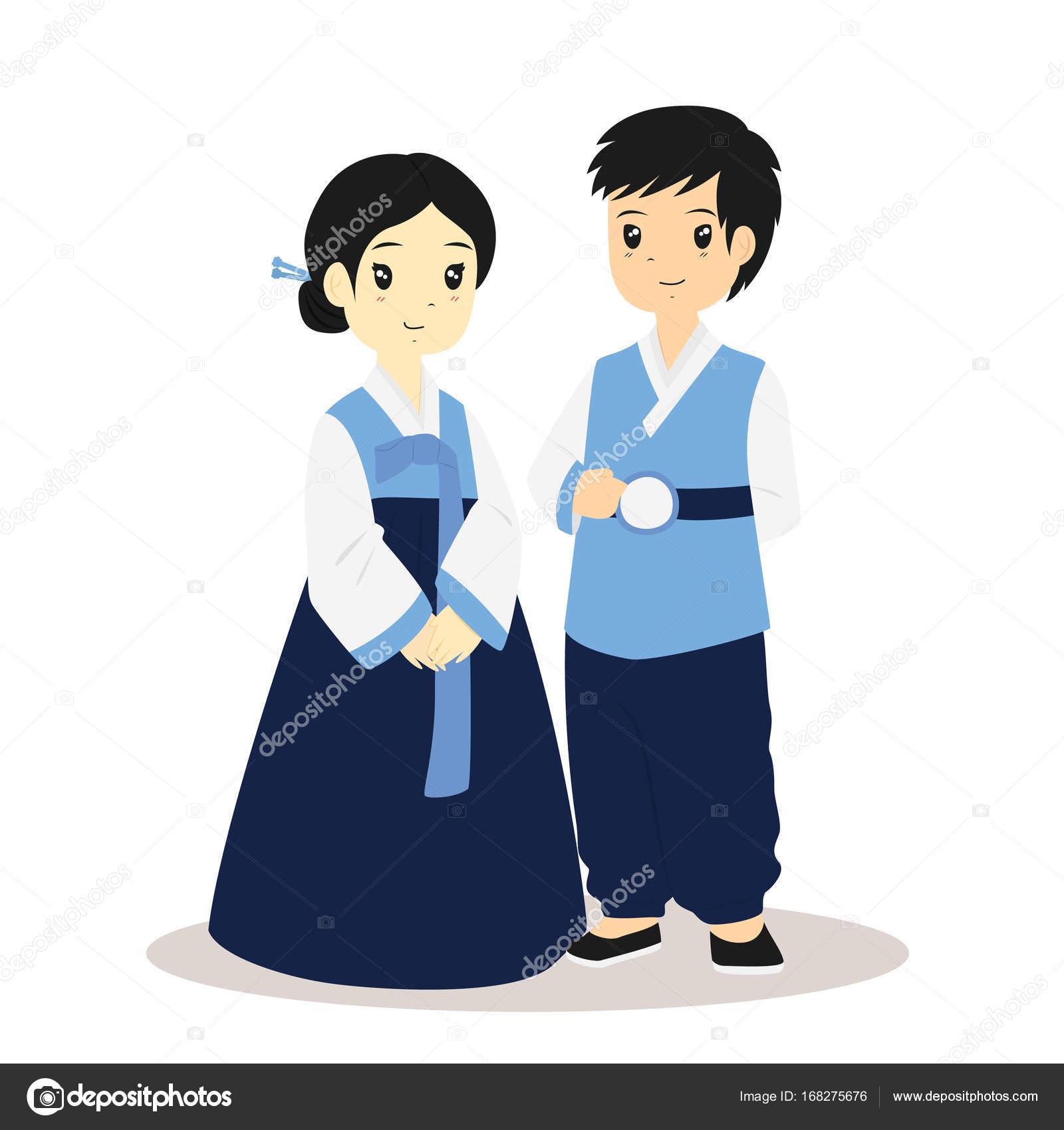 韓国の韓服、伝統的な衣装のベクトル — ストックベクター