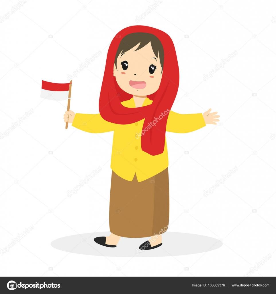 Jakarta Betawi Girl Holding Indonesian Flag Cartoon Vector Stock