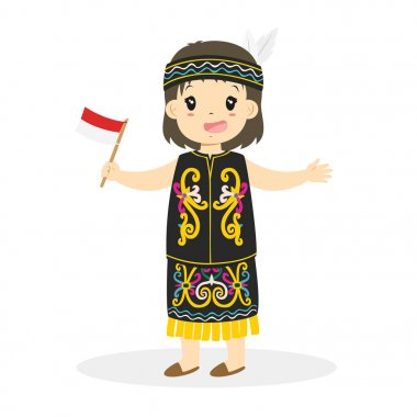 Dayak girl Holding Indonesian Flag Cartoon Vector
