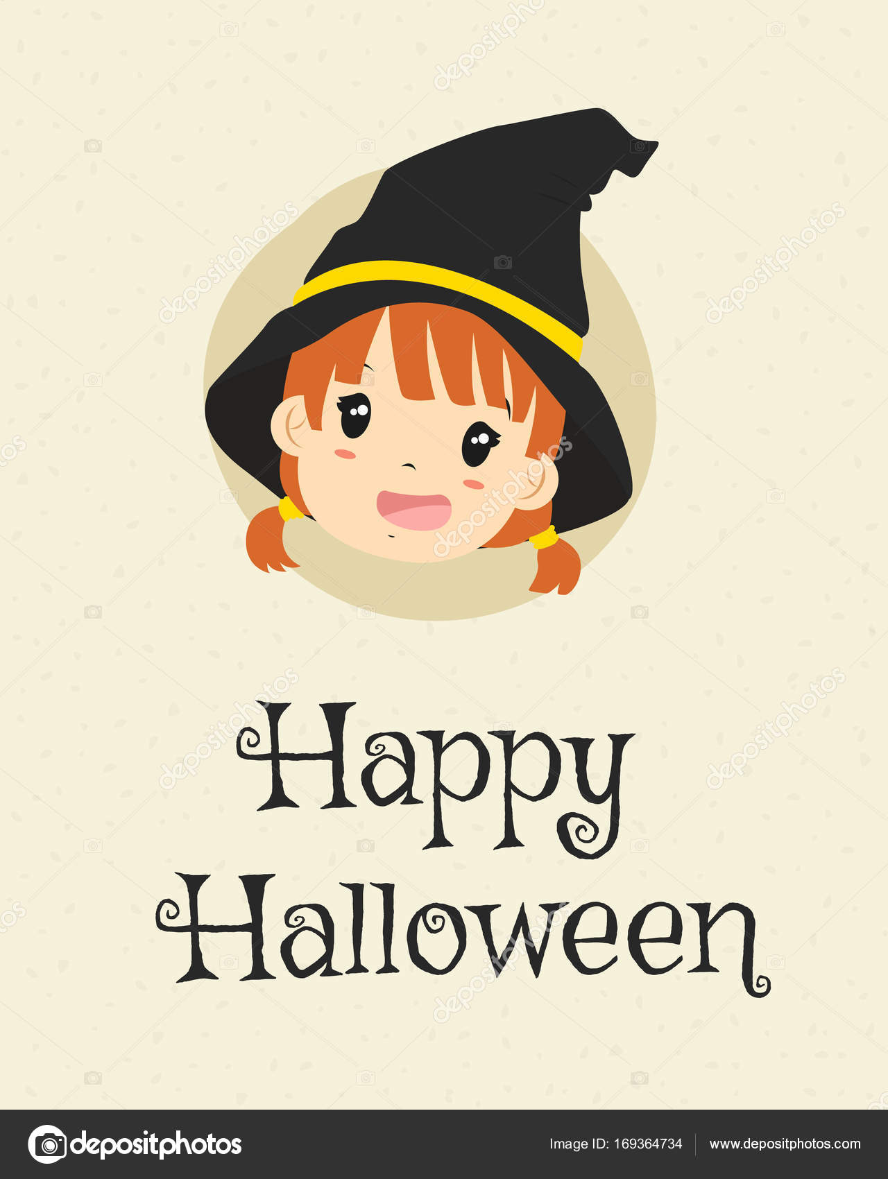 Happy Halloween Card Design, Cute Witch Cartoon Vector U2014 Stock Vector