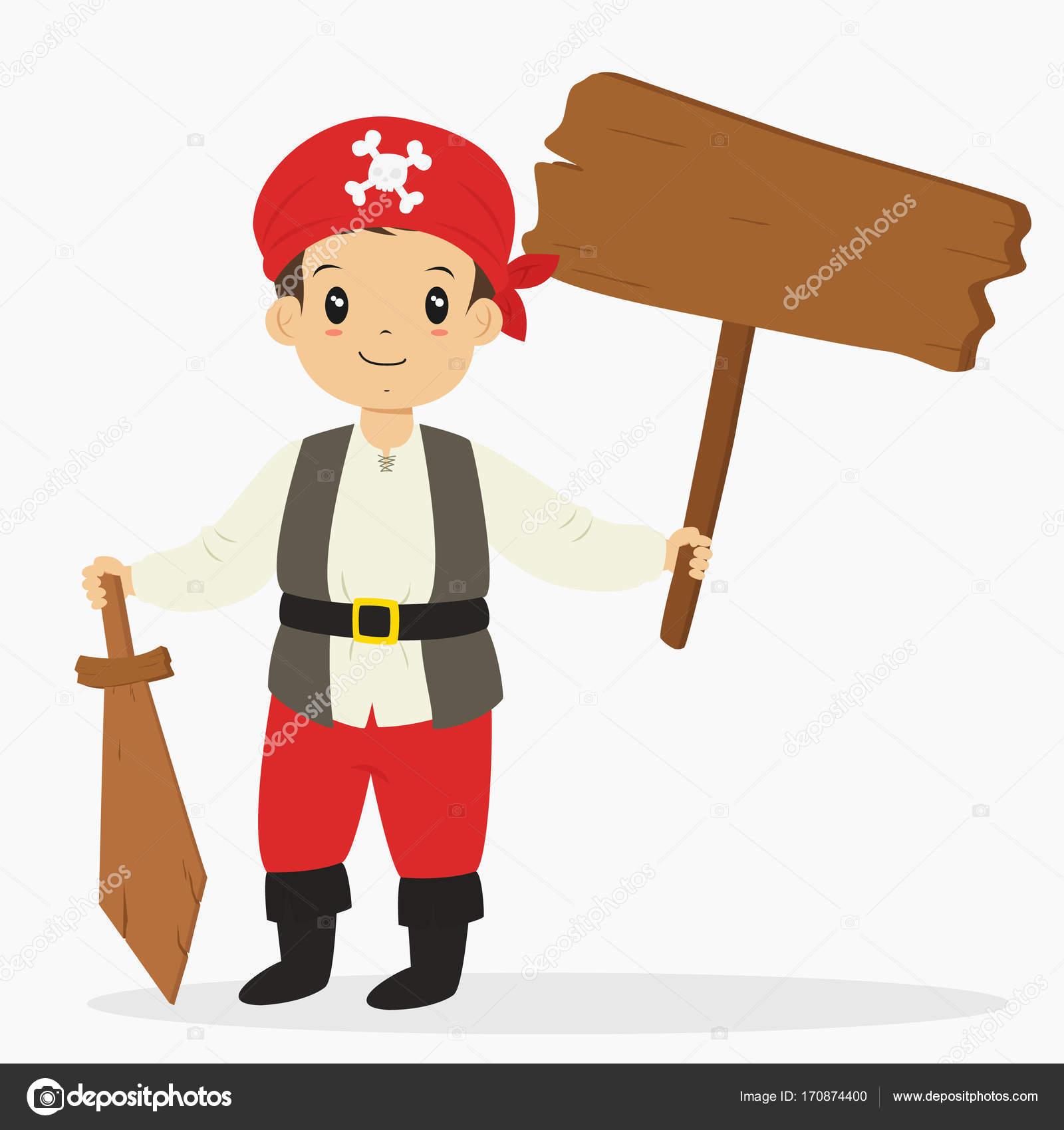 Pirata niño sosteniendo un cartel de madera y una espada de madera ...