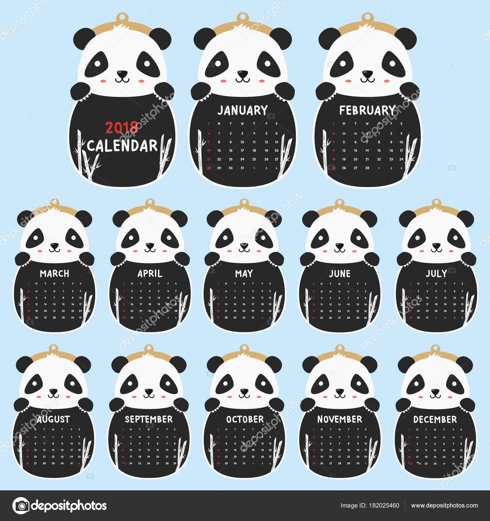Plantilla Calendario 2018 2018 Animal Forma Calendario Panda Lindo ...