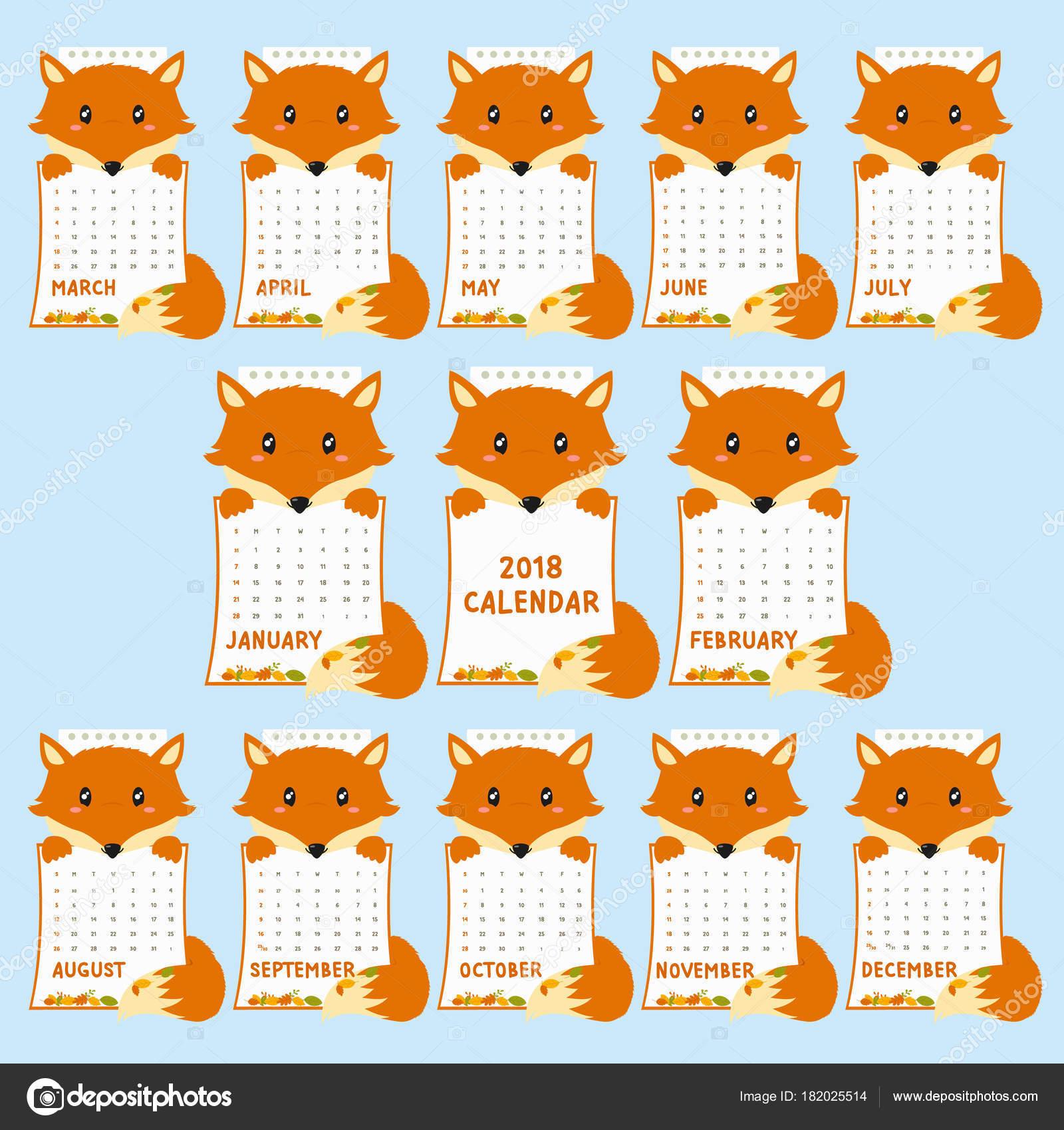 Calendario Fox.Plantilla Calendario 2018 2018 Animal Con Forma Calendario