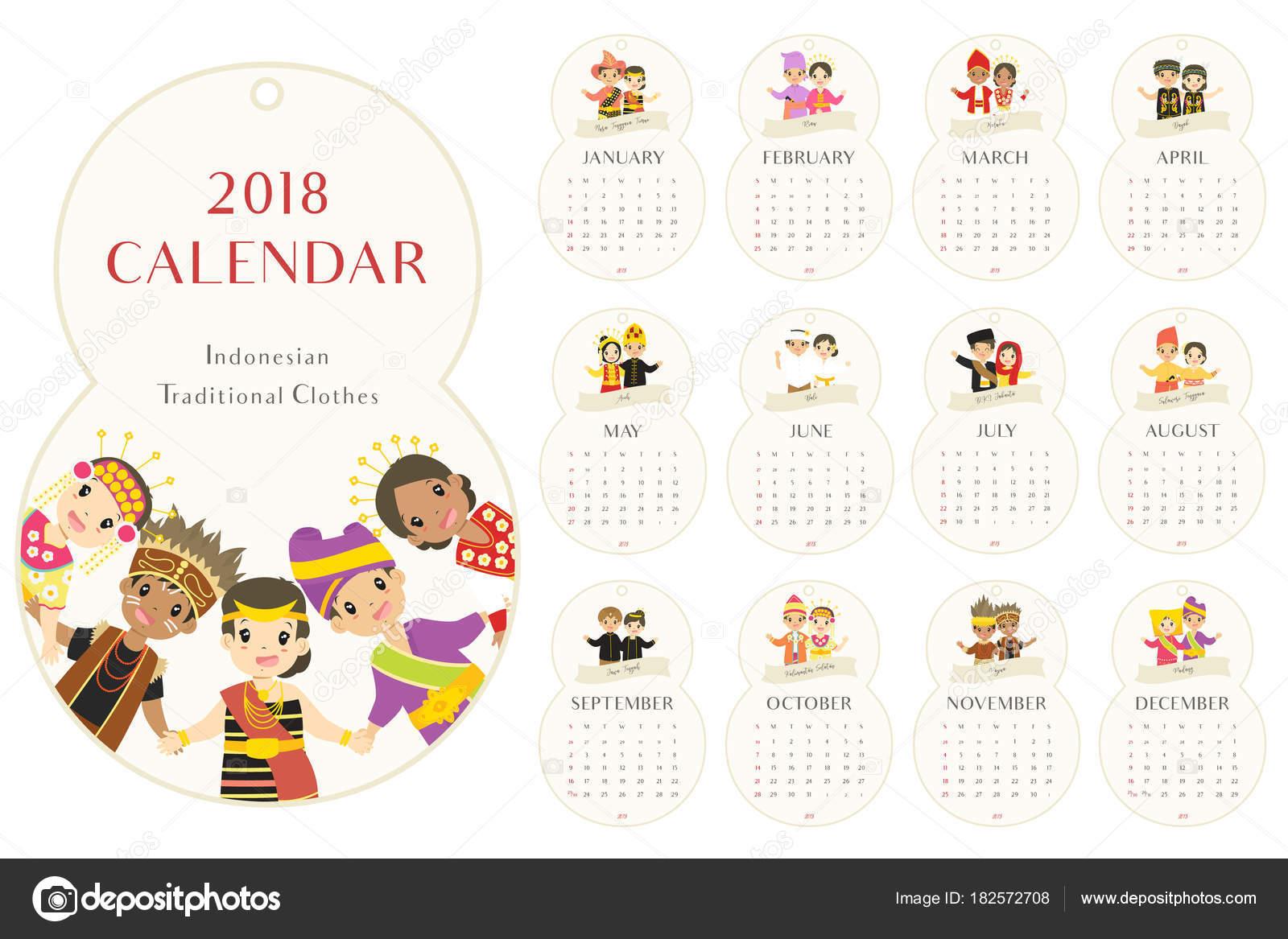 Ocho Forma Calendario 2018 Con Ropas Tradicionales Indonesia Niños ...