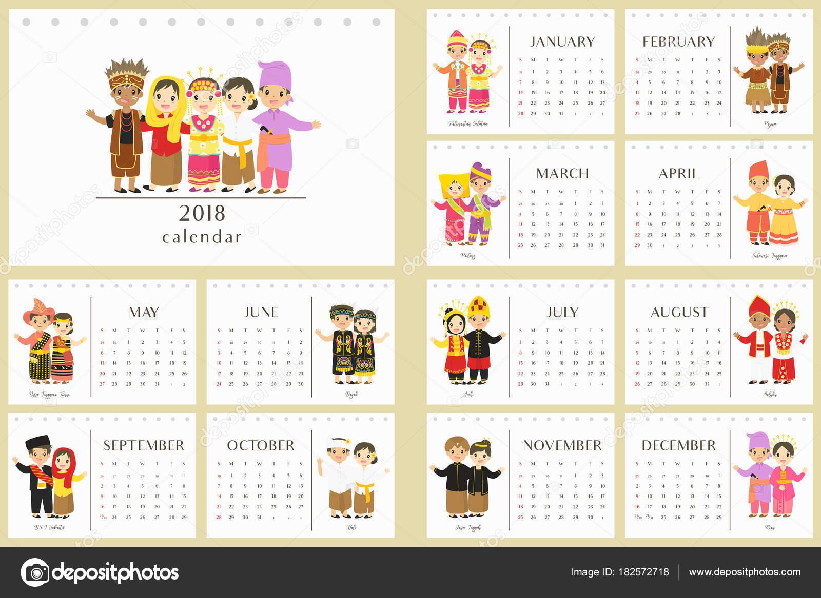 Calendario 2018 Con Ropas Tradicionales Indonesia Niños Indonesios ...
