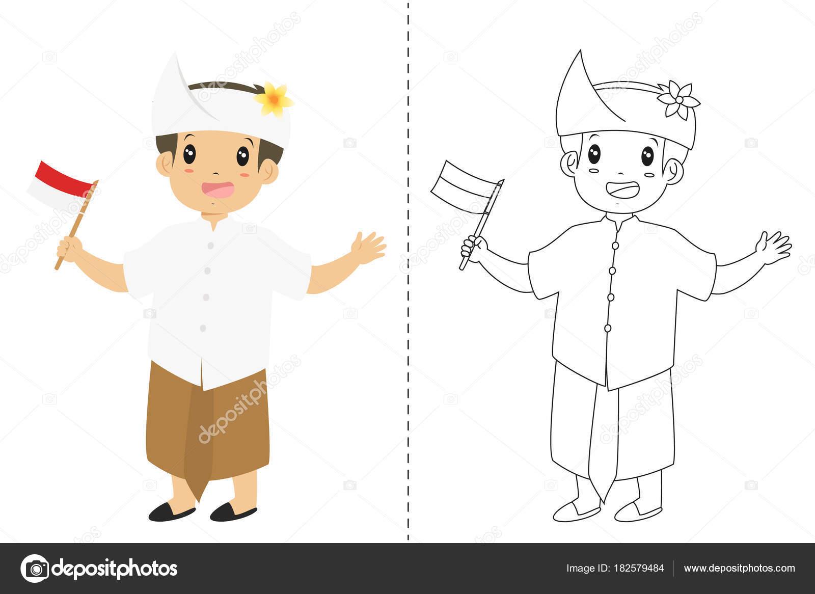 Bali Geleneksel Kıyafet Giyen Endonezya Bir Bayrak Tutan Endonezya