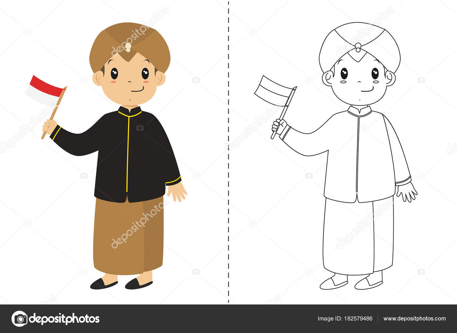 Indonesische Junge Javanischen Traditionellen Kleidung Trägt Und ...