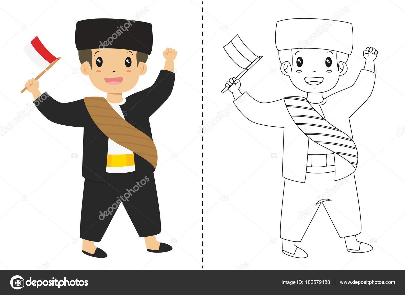 Betawi Jakarta Geleneksel Kıyafet Giyen Endonezya Bir Bayrak Tutan
