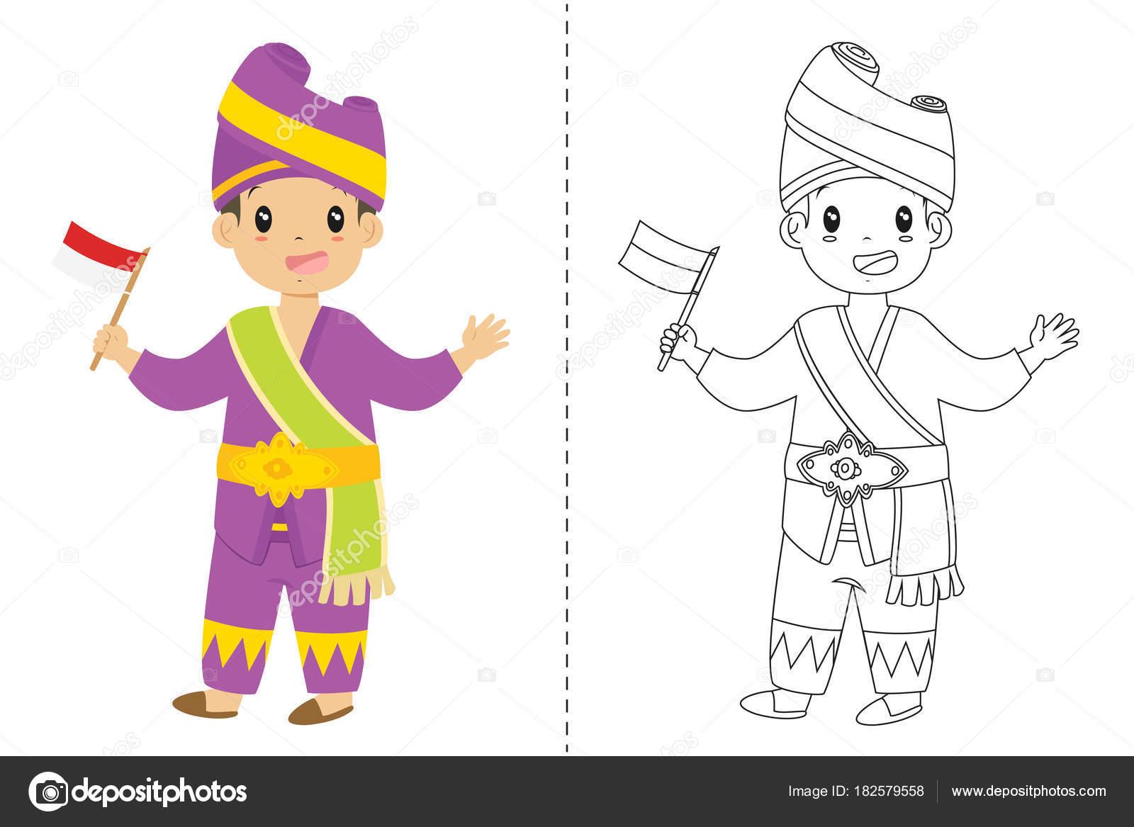 Padang Geleneksel Kıyafet Giyen Endonezya Bir Bayrak Tutan Endonezya
