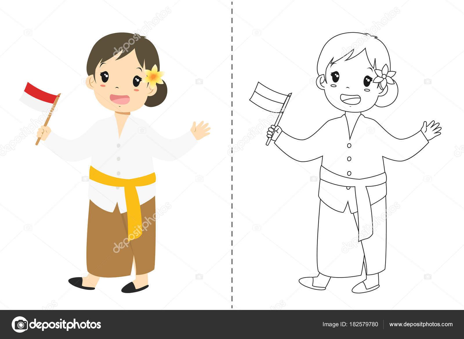 Indonesian Girl Wearing Bali Traditional Dress Holding