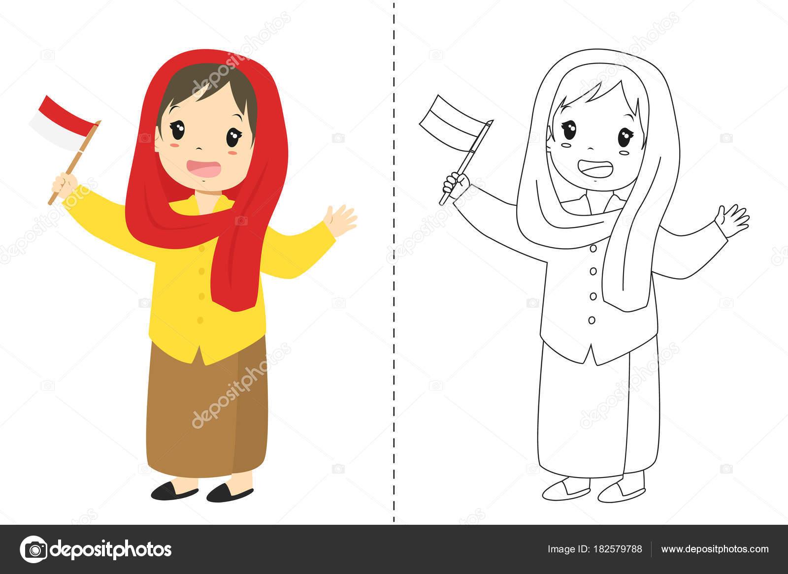 Indonesian Girl Wearing Betawi Jakarta Traditional Dress Holding