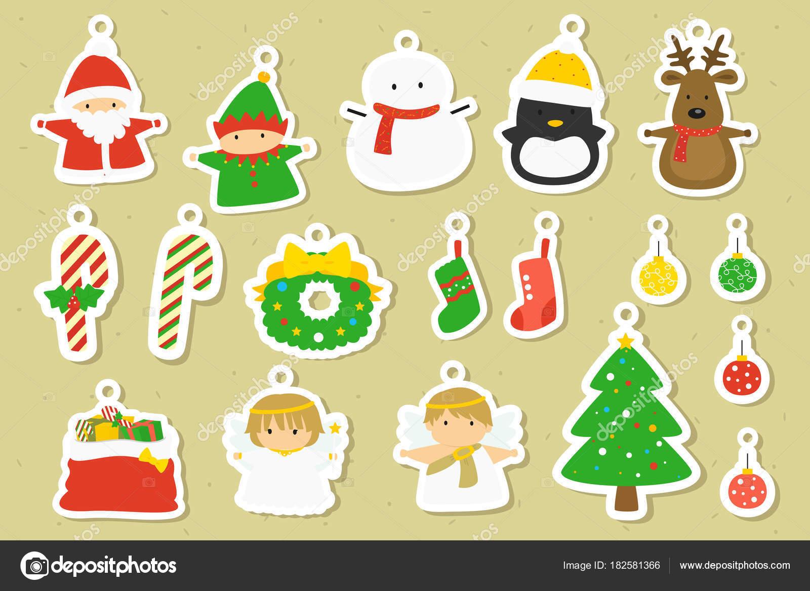 Imprimibles Navidad Empavesado Colección Vectores Dibujos Animados ...