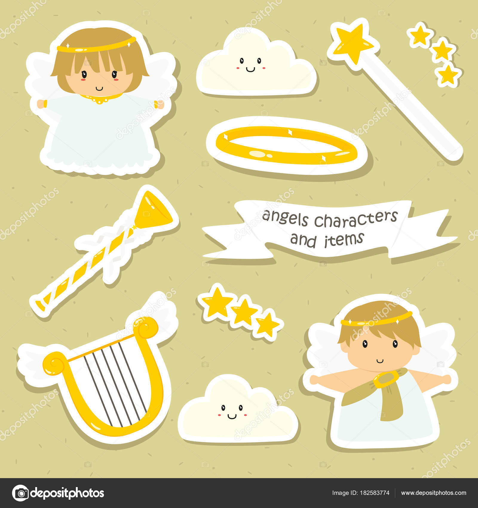 graphic about Cute Printable Stickers titled Illustrations or photos: printable cartoon Adorable Angels Merchandise Stickers Preset
