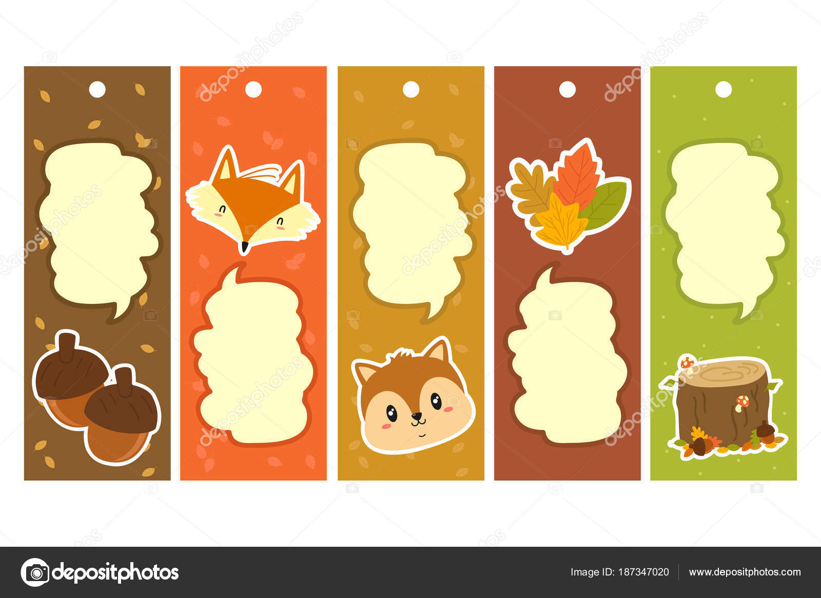autumn characters items bookmark template set printable bookmark