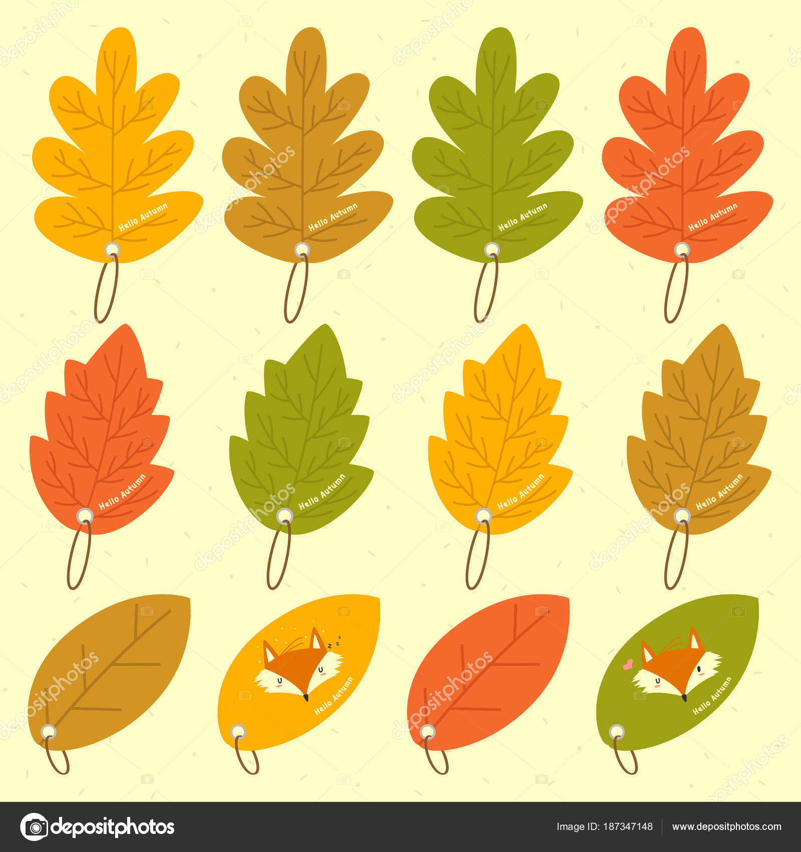 photo regarding Leaf Shapes Printable named Autumn Leaves Substitute Designs Bookmark Template Vector
